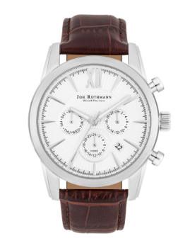 Relógio Joh. Rothmann Homem Halvor Prateado e Castanho