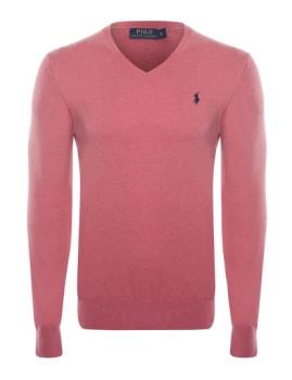 Pullover Ralph Lauren decote em V Vermelho Mesclado Homem