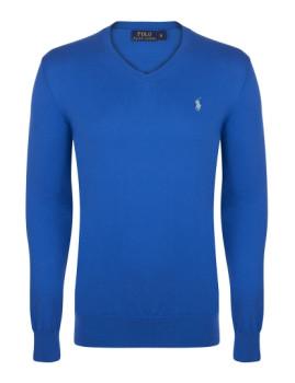 Pullover Ralph Lauren decote em V Azul Saturno Homem