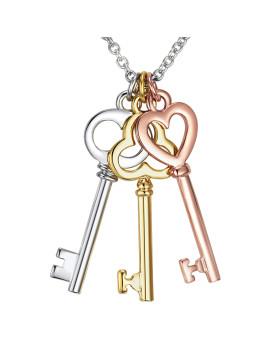 Colar Liga de Metal Prateado e Dourado e Rosa Dourado
