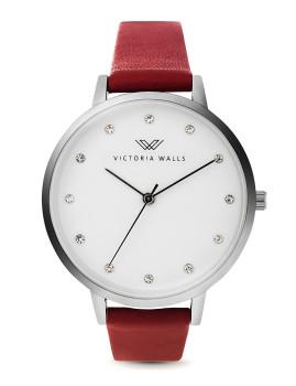 Relógio Victoria Walls Prateado, Vermelho e Branco Com Cristais