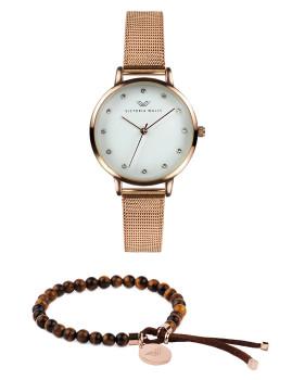 Conjunto de Relógio  e pulseira Victoria Walls Dourado Rosa  Preto sunray