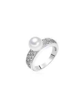 Anel Nova Pearls Copenhagen Prateado e Branco