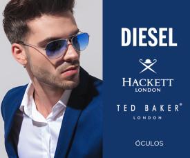 Imagem da campanha Diesel, Hackett e Ted Baker Óculos sol