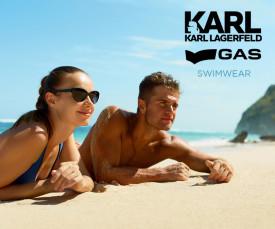 Imagem da campanha Gas e Karl Lagerfeld Swimwear