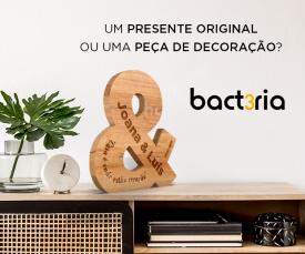 Imagem da campanha Presentes originais ou de decoração é com a Bact3ria!!
