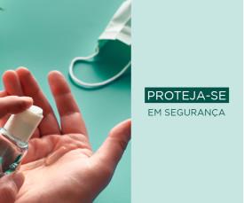 Imagem da campanha Proteja-se em Segurança! Máscaras, Desinfetantes...