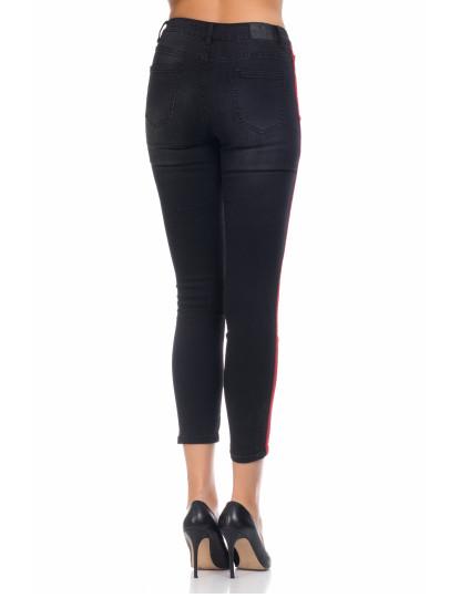Calça Jeans c Listra Lateral Vermelha Preto, até 2019 02 18