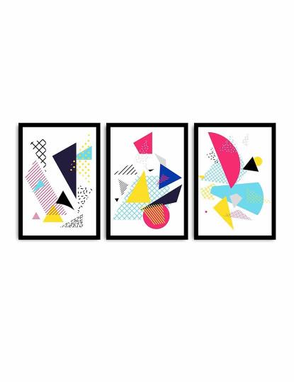 Pintura Decorativa MDF C/ Moldura  WD Multicolor (3 Peças)