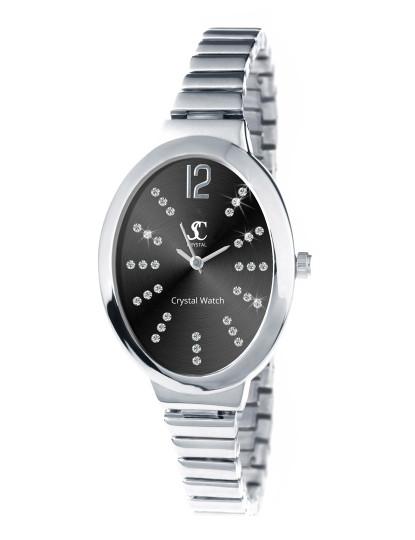 da4668d20bd Relógio de Senhora SC Crystals Oval Prateado e Preto