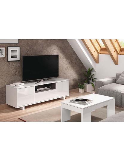 Móvel TV Forés Zaida 3 Portas Branco e Cinza