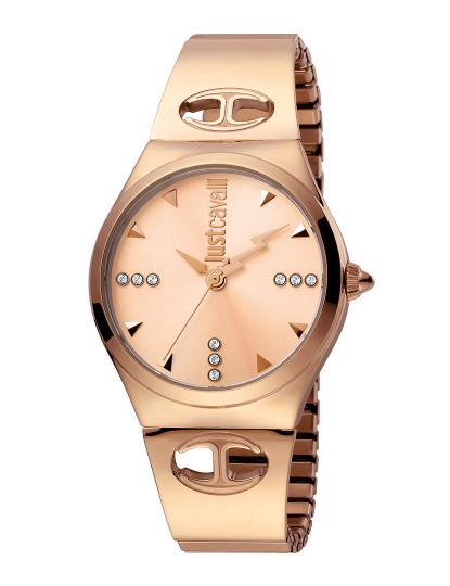 c50504ae650 Relógio Just Cavalli Logo Rosa Dourado