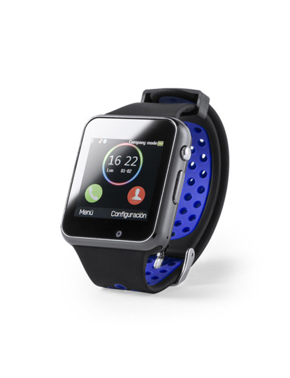 Smartwach Bluetooth com Câmara e bracelete em Silicone Azul