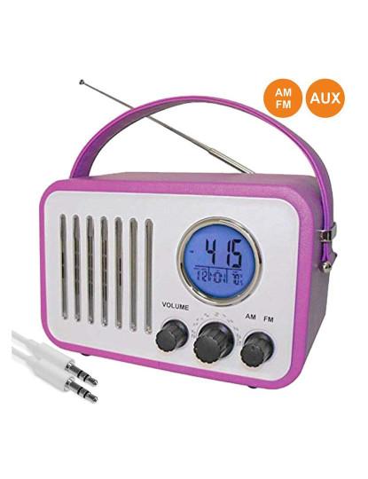 Rádio Portátil AM/FM Inovalley com Relógio e Alarme