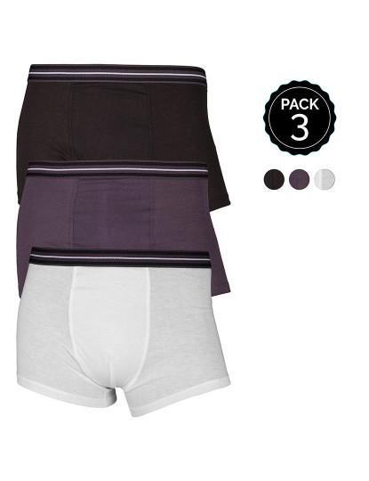 Pack 3 Boxers Marginal Preto e Cinzento e Branco