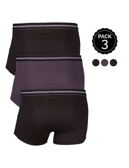 Pack 3 Boxers Marginal Preto e Cinzento