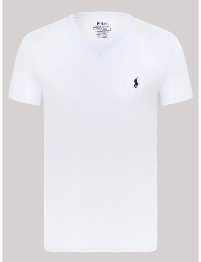 T-shirt Decote em V Ralph Lauren Homem Branco