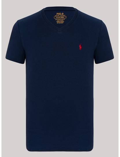 T-shirt Decote em V Ralph Lauren Homem Azul Navy