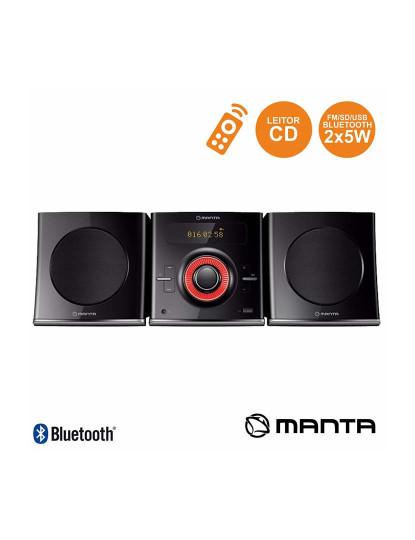 Rádio FM Manta com 2 colunas e Leitor CD Bluetooth
