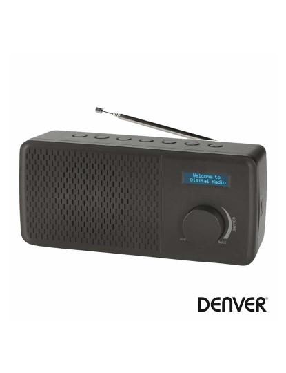 Rádio Portátil FM Denver DAB e DAB+ com Alarme Preto