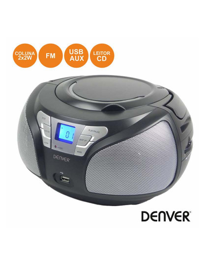 Rádio Portátil FM Denver com leitor CD