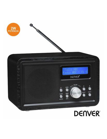 Rádio Retro Portátil FM Denver DAB+ com Alarme 2W