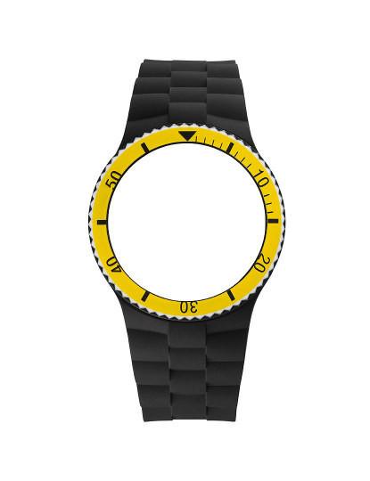 Bracelete Silicone Preta E Amarela