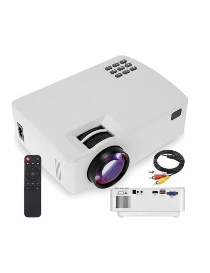 Mini Projector Led até 66 polegadas e 400 Lúmens! Incluí comando e HDMI!