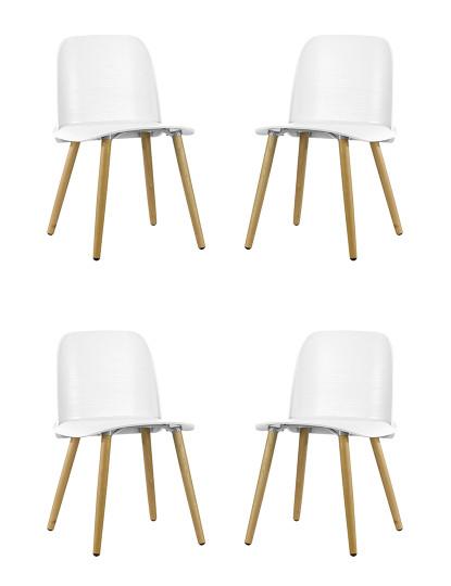 Pack 4 Cadeiras Wood Gum Branca