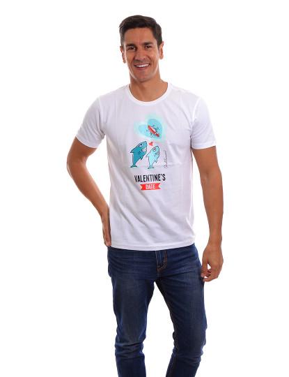 T-Shirt Namorados Throttleman Homem Branco