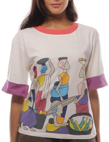 T-Shirt Regular Fit Casual Throttleman Branco multicolor