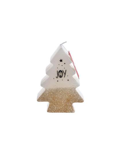 Vela Árvore Natal Purpurina Dourado