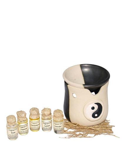 Queimador ''Ying-Yang'' c/ 6 Óleos Naturais (Limão, Rosa, Lavanda, Sândalo, Jasmin)