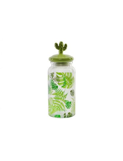 Jarra Vidro E Cerâmica Folhas