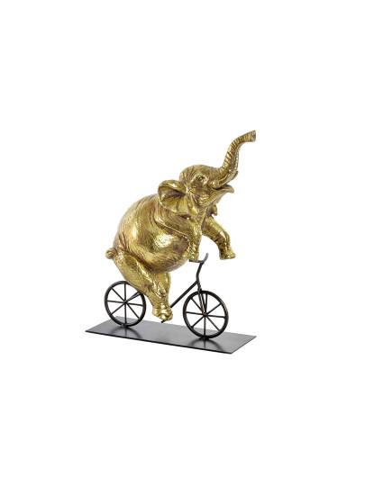 Figura Resina Metal Elefante Dourado