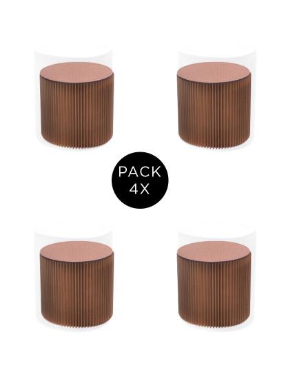 Pack 4 Bancos Desdobrável A28 Castanho