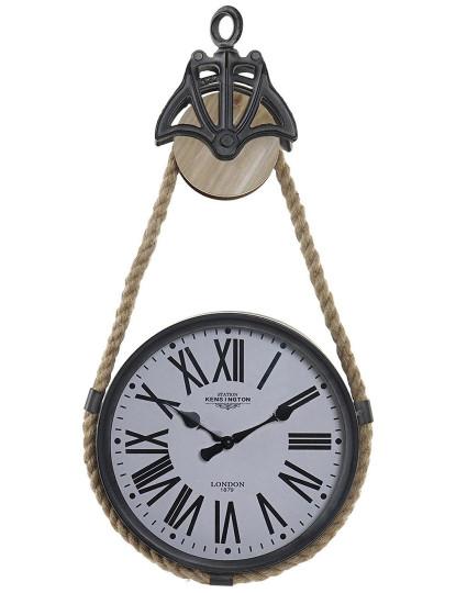 Relógio Parede Metal Corda 33X7X60 Polea Preto