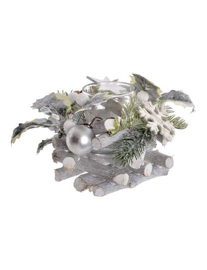 Porta-Velas Cristal Cinza