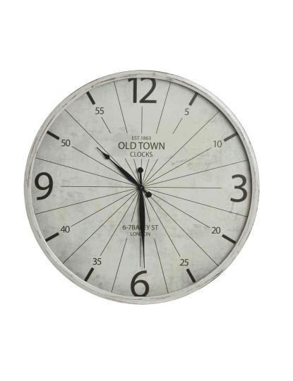 Relógio Metal e Cristal Branco Envelhecido