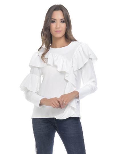 Camisa branca de mulher com folho no punho · Moda e