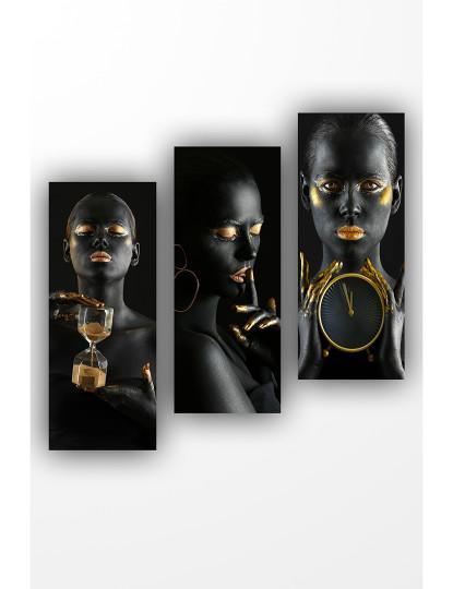 Pack 3 Pinturas MDF Preto Woman Dourado
