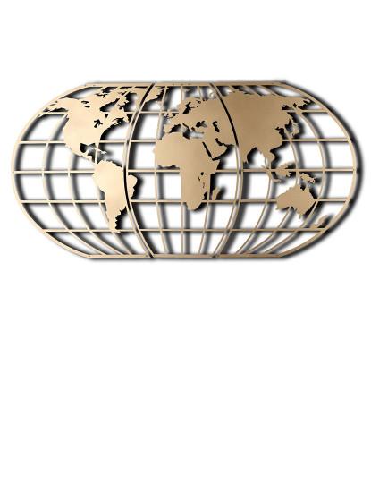 Decoração Parede Metal Mapa Mundo Globo Dourado