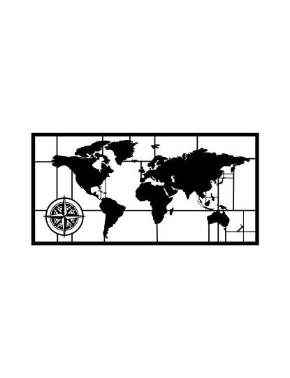Decoração Parede Metal Mapa Mundo