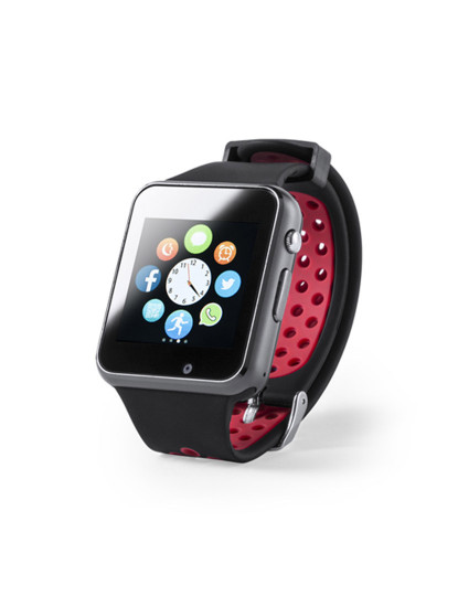 Smartwach Bluetooth com Câmara e bracelete em Silicone Vermelho