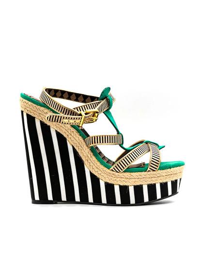 Sandálias de cunha Jessica Simpson Ginny 6 Preto Verde