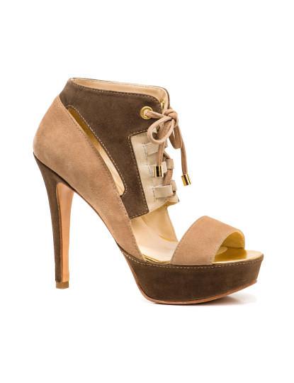 Sandálias castanhas com bege senhora