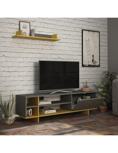 Móvel de tv  Stockton Retro Cinzento, Mostarda