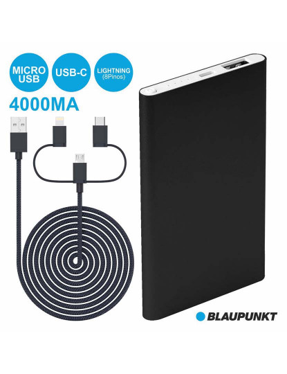 Powerbank Blaupunkt 4000mha c/ ficha Micro USB-C, USB e Lightning