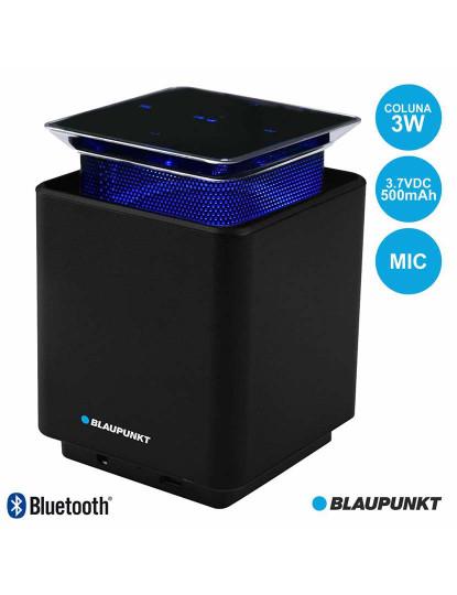 Coluna Bluetooth Blaupunkt Aluminínio Aura Blue c/ Elevação Sonora e Painel Táctil