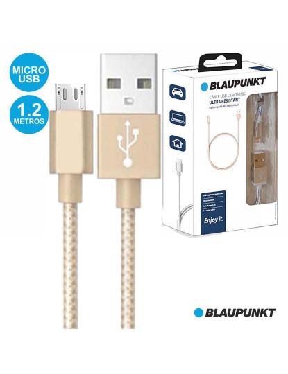 Cabo Blaupunkt Nylon Dourado USB-A/Micro USB-B e dados
